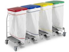 tts-dust-4167-wozek-higieniczny-z-pedalem-zamykany-skladany-na-odpady-medyczne-z-segregacja-na smieci-i-na-brudna-bielizne