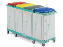 tts-magic-line-professional-190p-wozki-serwisowe-do-sprzatania-higieniczne-na-odpady-medyczne-z-segregacja-na-brudna-bielizne-na-odpady komunalne--i-smieci-elimuja-zakazenia-krzyzowe